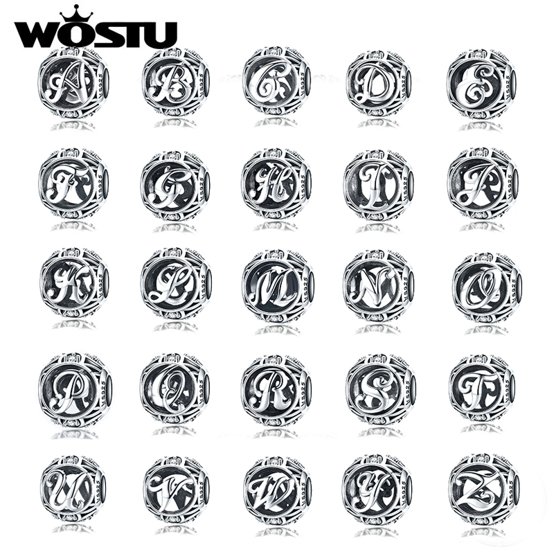WOSTU Genuine 925 Sterling Silver Fashion Letter A-Z Beads Charm fit Original Bracelet Necklace Woman DIY Jewelry Making CQC738 925 sterling silver charm a z letter of the alphabet with crystal pendant beads fit pandora original bracelet diy jewelry making