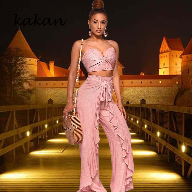 Kakan spring new women 39 s jumpsuit two piece fashion casual female wide leg pants suit stitching backless ruffled jumpsuit in Jumpsuits from Women 39 s Clothing