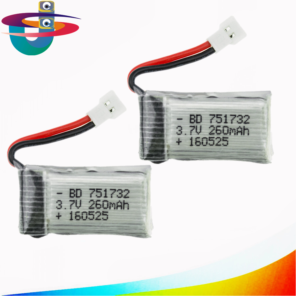 2pcs 3.7V 260mAh Li-po Batteries battery for JJRC H8 Mini Eachine H8 RC Quadcopter Accessory drone toy parts H48