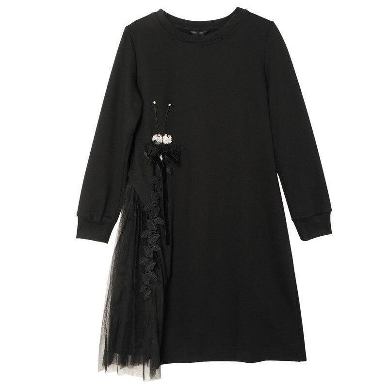 S473 Au De S Mode Taille Grande Longueur Pour Manches Robe Courte 1 4xl 5xl Femme Patchwork Genou Noir Printemps Tulle Longues qqR6Bwgf