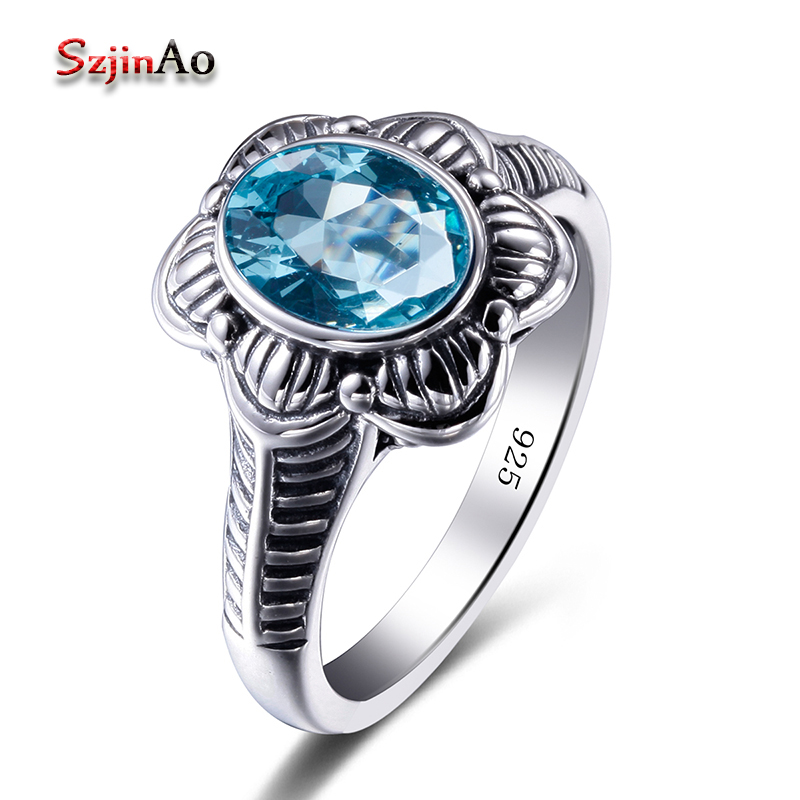 Szjinao Flower Manufacturer 925 sterling silver jewelry Bridal Rings Bohemia Blue Aquamarine Vintage Ring Christmas gift