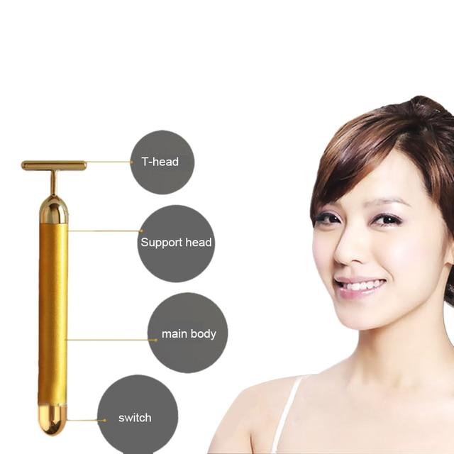 Energy Beauty Bar 24K Gold Pulse Firming Massager Facial Roller Massager Derma Skincare Wrinkle Treatment 2