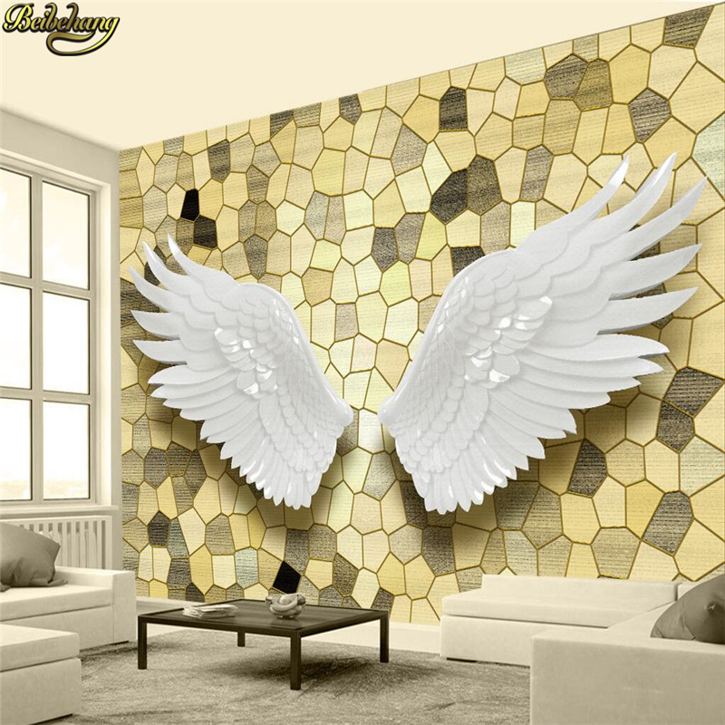 Painting Supplies & Wall Treatments Fashion Style Beibehang Custom Photo Wallpaper Mural Wall Sticker Nordic Modern Relief Angel Wings Mosaic Stone Wall Tv Background Wall