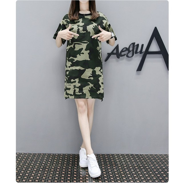 US $15.32 43% OFF|New Women summer camo loose plus size Dress European  Style Camouflage Printing Female Short Sleeve o neck Shirts Dresses 4XL  5XL-in ...