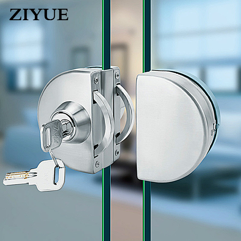 Free Shipping Double Glass Door Lock 304 Stainless Steel Single Open Frameless  Glass Door Lock Hasps with Key high quality sus304 stainless steel 10 12mm glass door lock double swing hinged frameless door no need to open holes