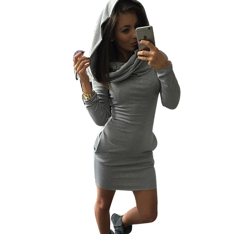 Woman Winter Dress 2016 Pocket Hooded Dress Knitted Woman Winter And Autumn Dresses 3Kind Ways Wear Slim Black Grey Red Dress yt 721 men s autumn winter wear fashionable stitching slim jacket black red l