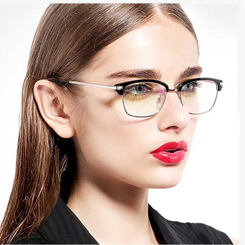 new coming fashion myopia optical men big frame glasses gold metal legs women computer eye glasses frame high quality 7 color in eyewear frames from mens