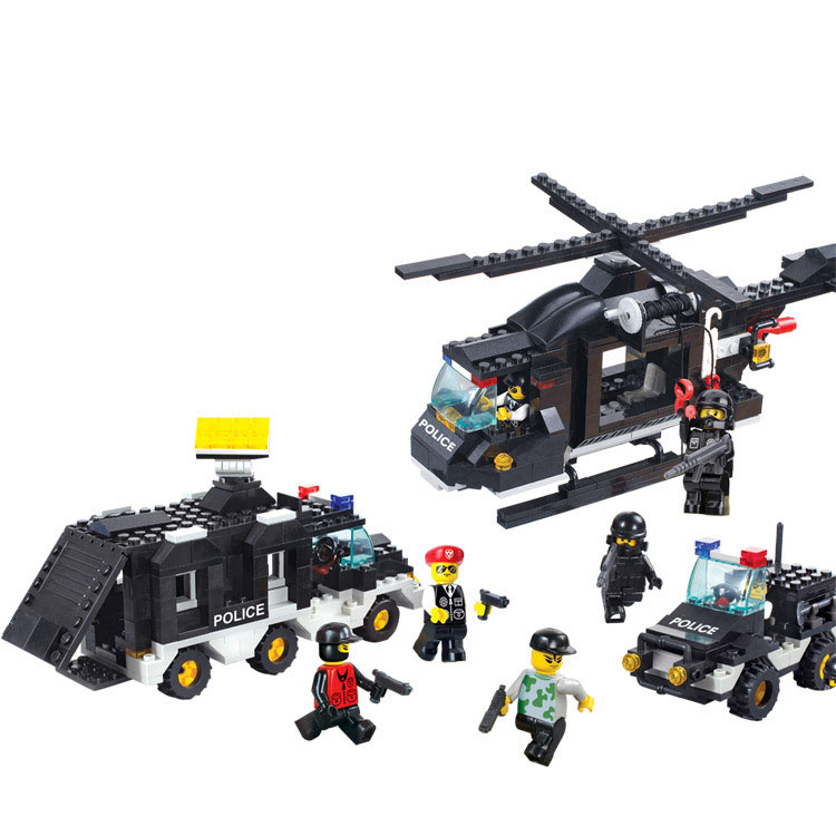 Models building toy 2100 Swat Police helicopter Command Car Building Blocks   military toys & hobbies