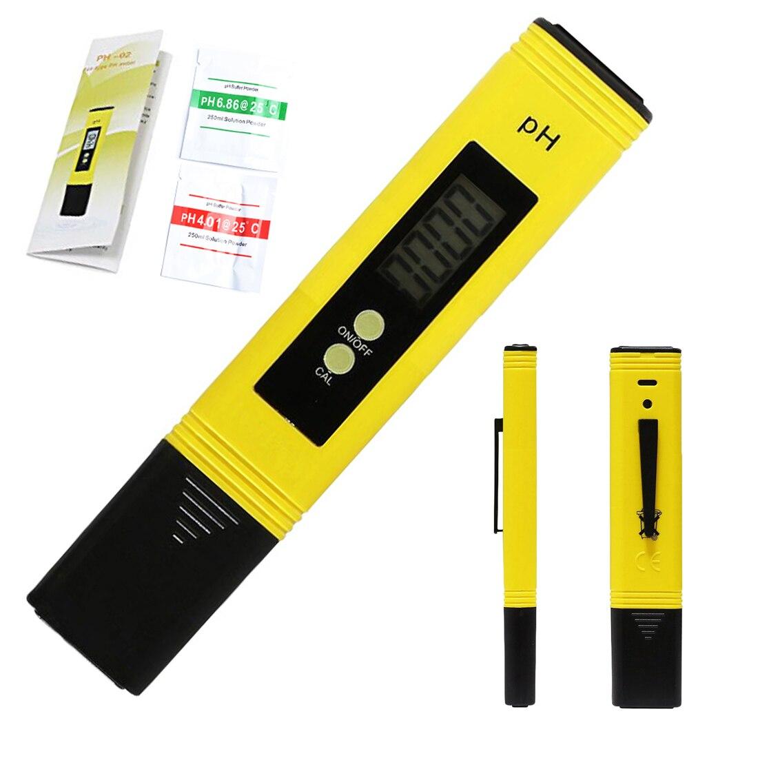 0.01 digital pH Meter tester para la calidad del agua alimentos piscina del acuario hidroponía bolsillo pH tester pantalla LCD grande