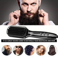 2.0 Beard Straightener Comb LCD Display Electric Quick Hair Styler Ceramic Flat Iron Hair Straightener Brush Men Accessories(China)