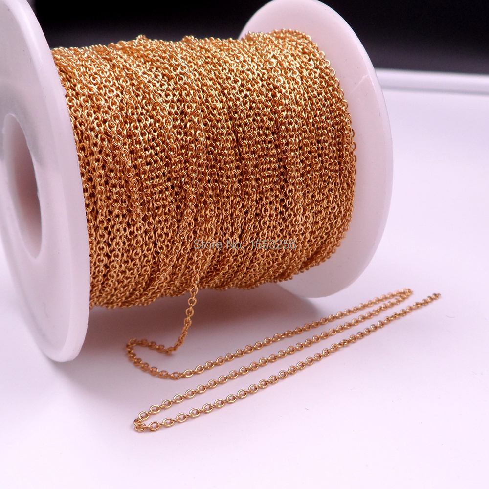 Wholesale 50 Meter Roll Thin 2mm 18k Gold Plated Stainless Steel Smooth O Link Chain Jewelry