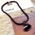 Famosa marca de liga de zinco coréia preto declaração de pedras preciosas de estilo barroco colar clavícula jóias