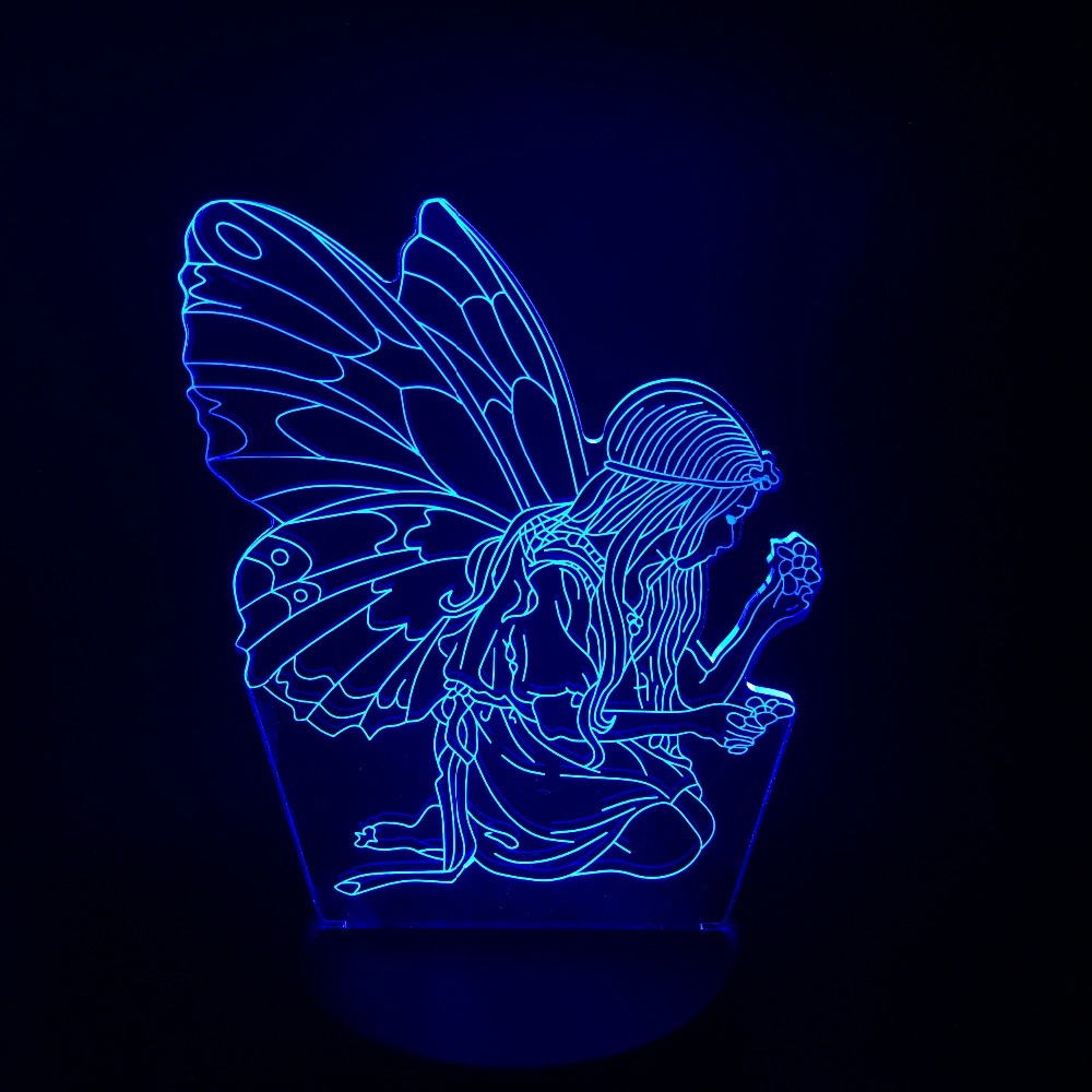 Creative 3D Butterfly Girl Wing Night Light USB Colorful Visual LED Table Lamp Child Gifts Fairy Shape Baby Sleep Lighting Decor