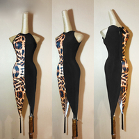 Latin dance dress new adult female hang tail bag hip leopard print black slanting shoulder dress oblique shoulder dress L126