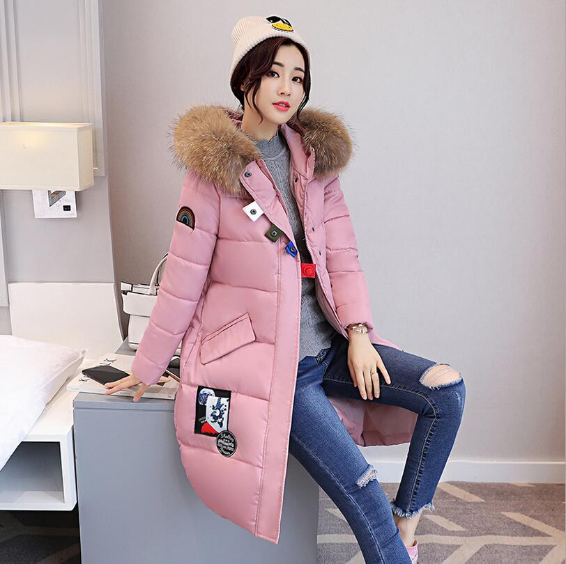 Big Fur Collar hooded down jacket 2017 new Winter Women padded Coat warm down cotton Parkas overcoat plus size 3XL a626 wmwmnu women winter long parkas hooded slim jacket fashion women warm fur collar coat cotton padded female overcoat plus size