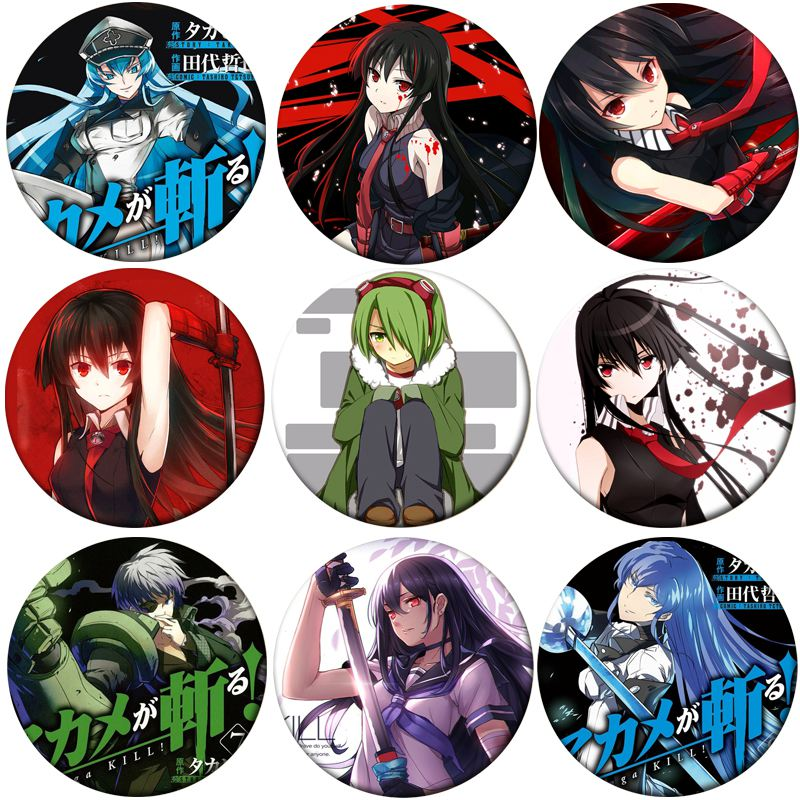 1pcs Anime Akame Ga KILL Cosplay Badge Cartoon Tatsumi Akame Brooch Pins Lubbock Collection Badges For Backpacks Decoration