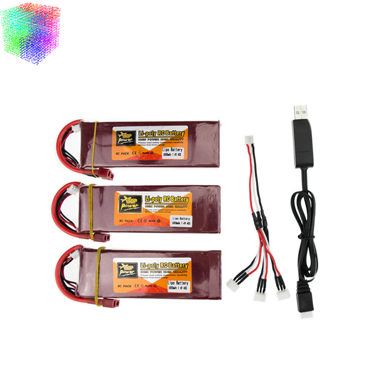 Lipo battery 7.4V 5000mAh 40C ZOP Batteies T plug and USB charger suit for  rc Quadcopter Airplane drone Spare Parts wholesale hsp 94188 rc car nitro 4wd 1 10th off road monster buggy high speed 1 10 truck p2