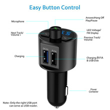QC3.0 Car Charger Dual USB Charging Ports Hands Free Calling Bluetooth FM Transmitter Wireless Radio Adapter for iPhone X