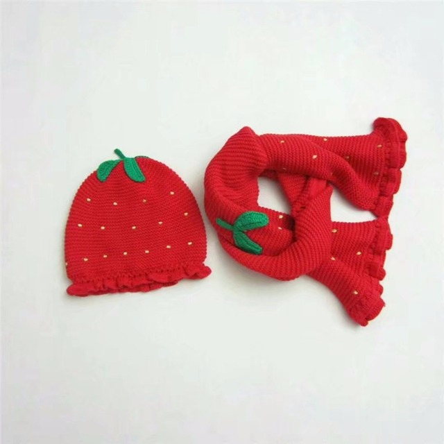 9d92b144dfe Kids Baby Girl Winter Knitted Warm Strawberry Hat Cap Scarf Set Plant  Pattern Tomato Shape Warm Winter Hat Baby Gift Sets