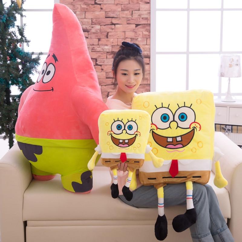 For Kids Soft Stuffed Animals Sponge Bob Plush Toys Baby Pillow Animal Cartoon Doll Cotton Cushion Children Christmas Gifts