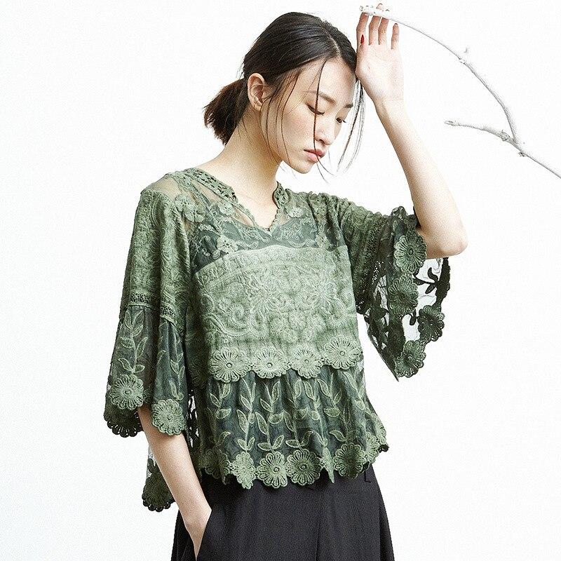 Japonais Mori fille Vintage rétro Boho broderie Floral Flare manches lin coton deux pièces ensemble femmes chemise printemps haut chemisier