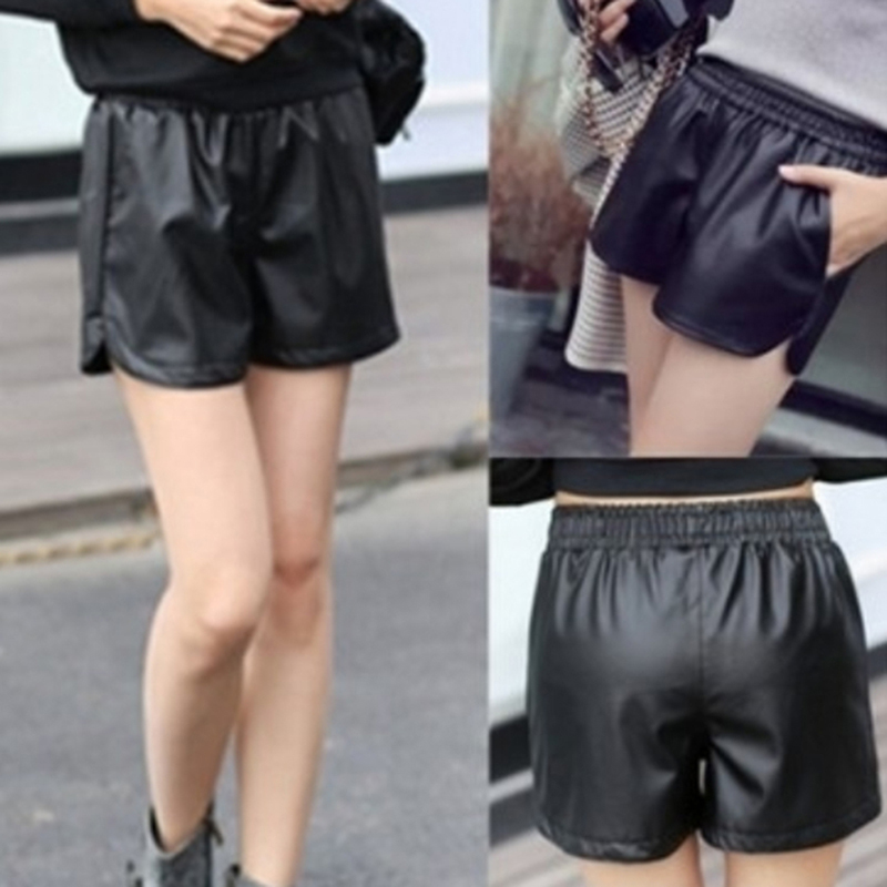 HTB1hzpWdBKw3KVjSZFOq6yrDVXag - S-3XL Female Korean Casual Large Size Out Wear Wide Leg Elastic Band Short Pants Autumn/Winter Wild  PU Leather Shorts