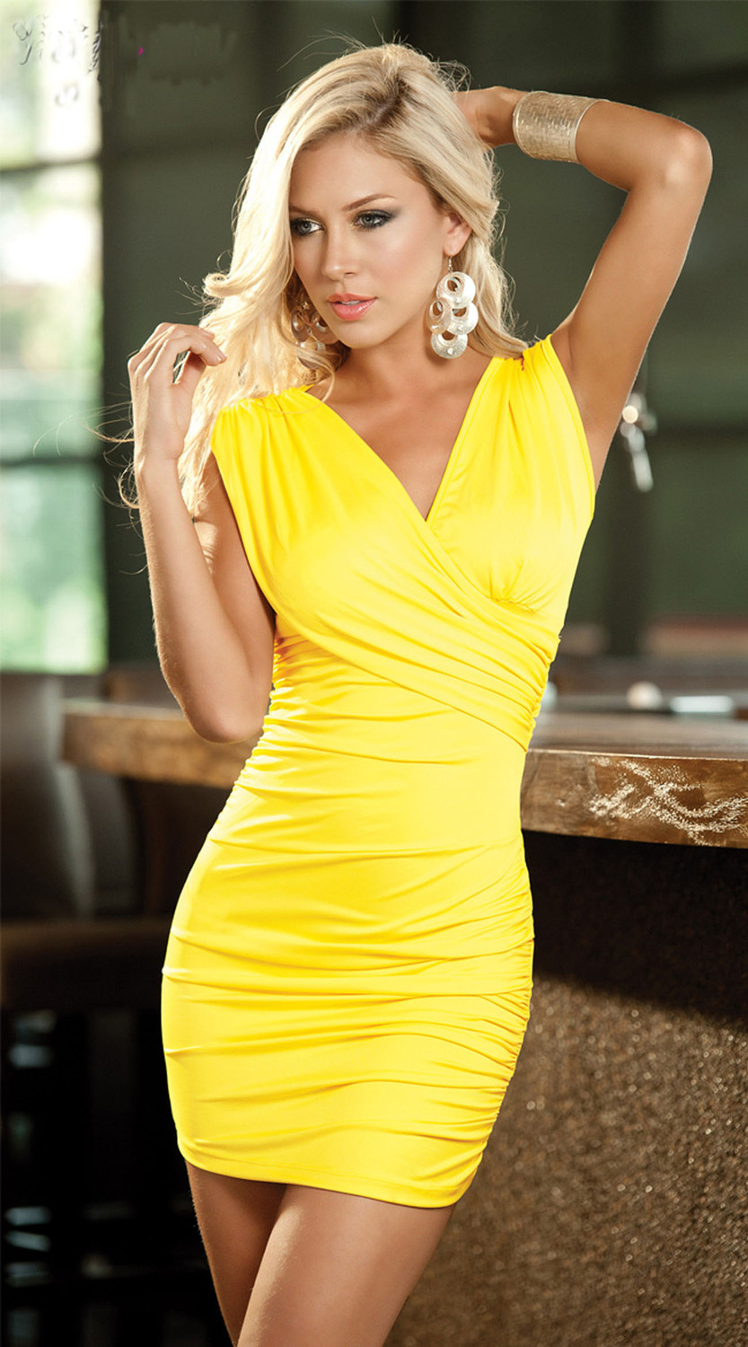 Free Shipping Yellow Classy Chic Sexy Women Mini Dress -5030