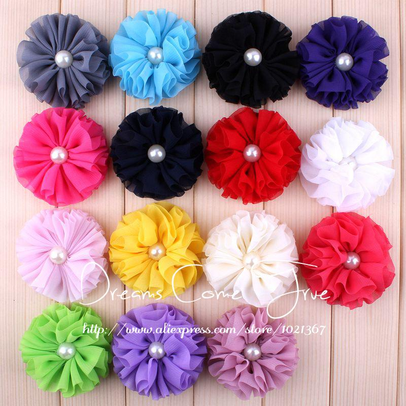 200pcs/lot 6.5CM 15 Colors Newborn Fashion Artificial Hair Flowers With Pearl Button Chic Chiffon Flower Accessories For Baby