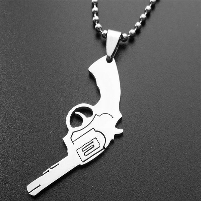 creative font b mens b font stainless steel gun pendant necklaces round bead chain font b