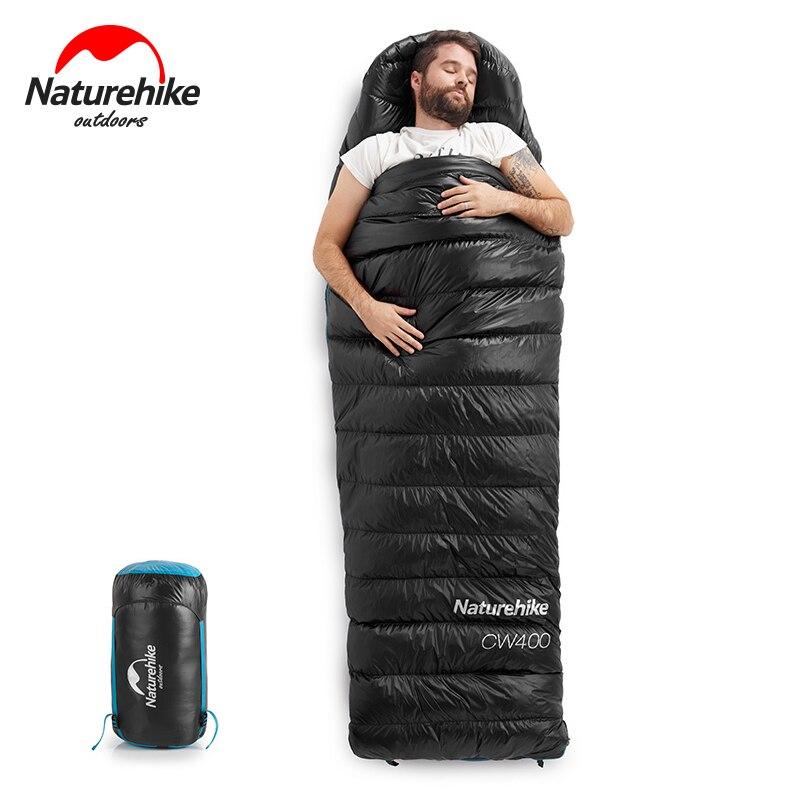 Naturehike CW400 nuevo saco de dormir blanco con diseño abierto de ganso tipo sobre empacable para dormir cálido de invierno NH18C400-D