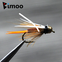 Bimoo 12pcs 12 # Brass Bead Kepala Prince Nymph Trout Fishing Lalat Cepat Sinking Nymph Fly