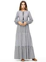 2018 autumn muslim dress long dress indonesia stitching lantern sleeves long gray stripe robe musulmane longue 18042