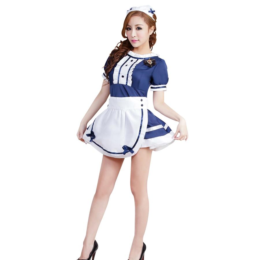 White apron costume - Women Lingerie Sexy Hot Erotic Temptation Apron Maid Servant Uniform Waitress Cosplay Costume Dress Babydoll Sex