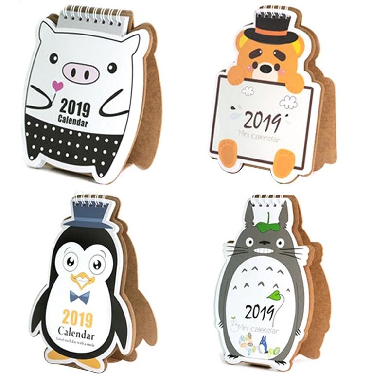 Kalender 2019 Nette Cartoon Bär Pinguin Schwein Mini Tabelle Desktop Kalender Agenda Organizer Täglichen Zeitplan Planer 2018,08 ~ 2019,12 Office & School Supplies