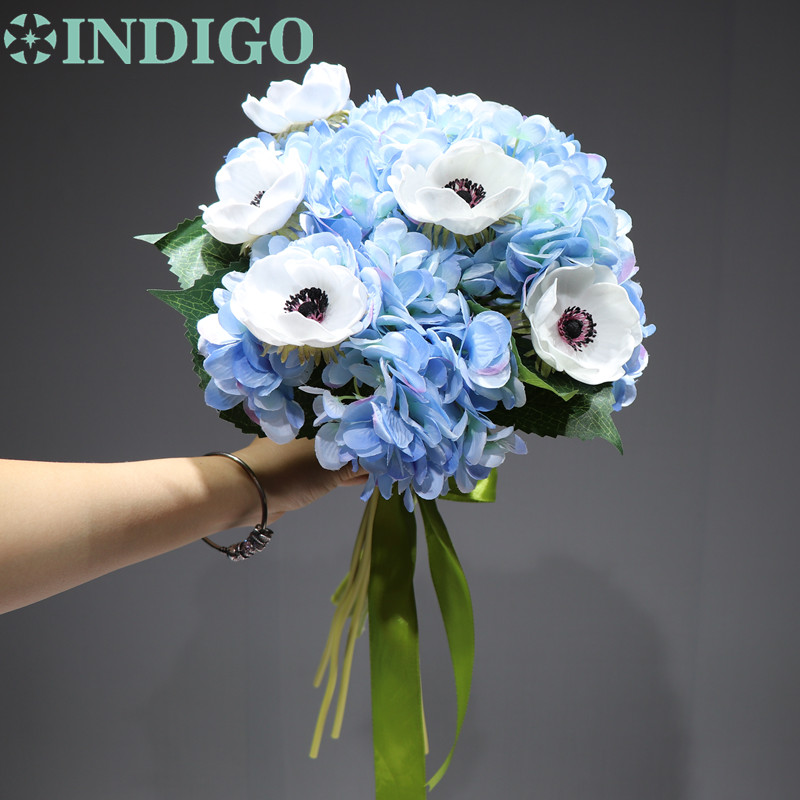 Bouquet Sposa Bianco E Blu.Indigo Vendite Esclusive 10 Pcs Blu Ortensia Bianco Fiore Di