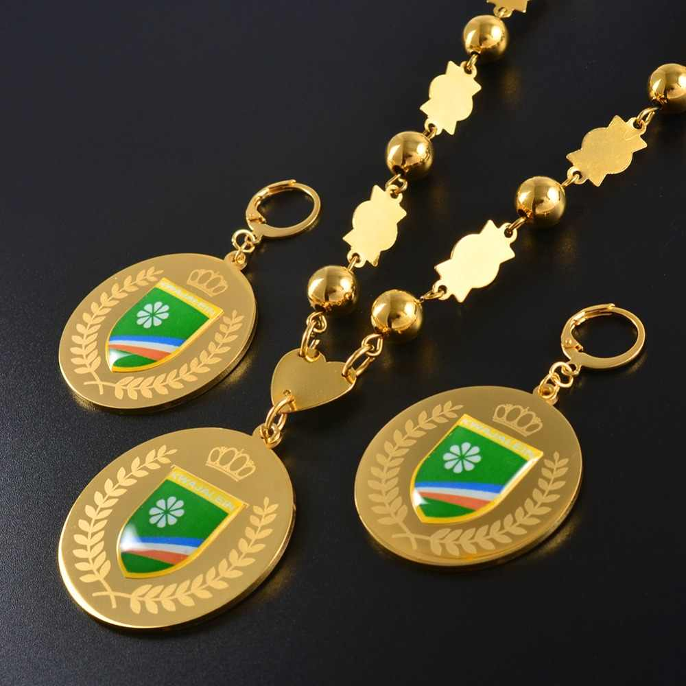 Anniyo KWAJALEIN Jewelry sets Flag Pendant & Big Earrings Round Ball Beads Chain Necklaces Jewellery Gifts #071621