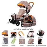 3 в 1 детская коляска прогулочная коляска складной детская коляска для новорожденных коляска, отделанная кожей