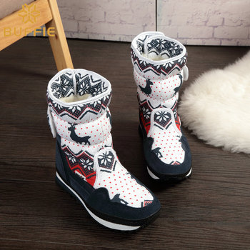 Girls Winter Snow Boots New Design Christmas Theme Warm Natural Wool Fur Inside Non-slip Boots
