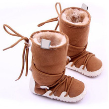 2017  Baby Shoes Winter Warm Snow Boots Fleece Soft Soled Crib Toddler Sneakers First Walkers New