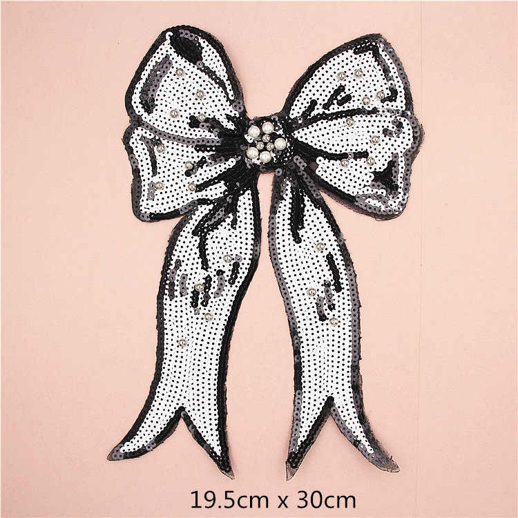 ... Large Bow Tie Sequin Beaded Embroidery Patches for Clothing Sew on  Clothes T-shirt Appliques ... 61ac0ecb672e