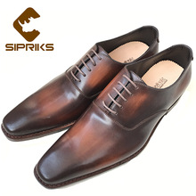 SIPRIKS Luxury mens goodyear welted shoes vintage patina brown dress oxford shoes for men italian painted grooms wedding shoes