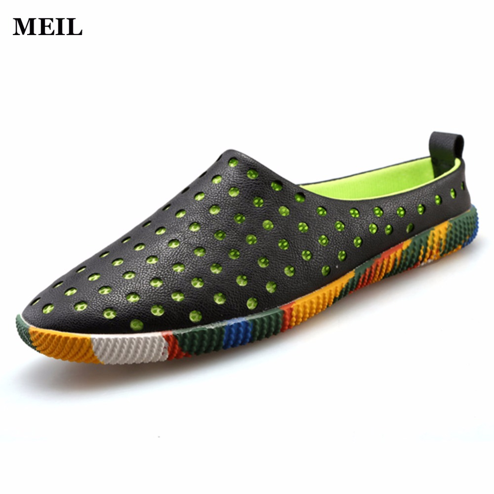 2017 New Arrival Leather Sandals Loafers Men Shoes Men Fashion Summer Hollow out Breathable Flats Shoes Cool Comfortable Slides