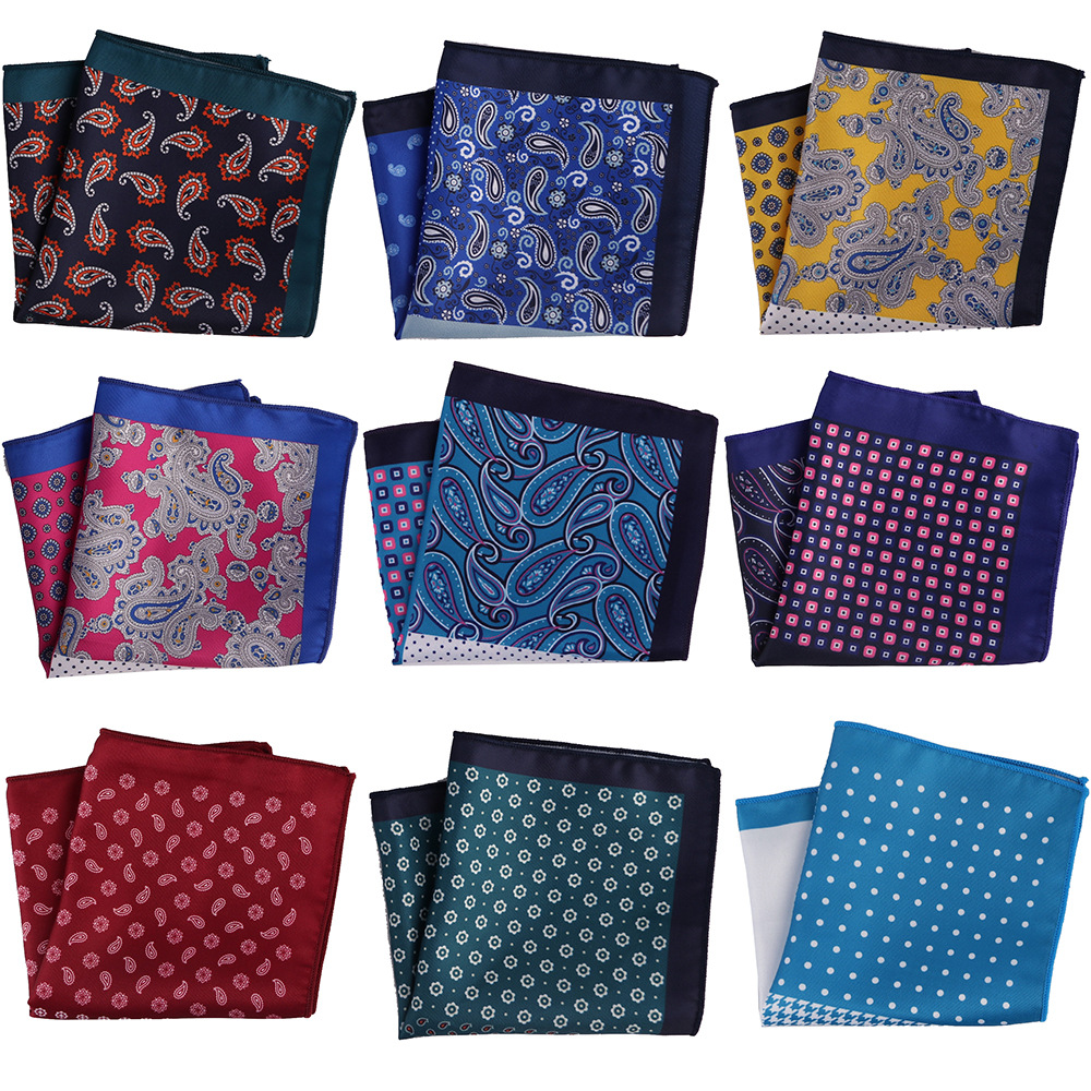 YISHLINE Distinctive Mens Handkerchief Pocket Square Silk Man Dots Paisley Men Chest Hankies Wedding Party Gift Accessories