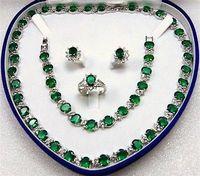 Bridal Fashion Jewellery pink stone Set green Zirconia Necklace Earring Ring Bracelet AAA +box Crystal Women Wedding 925 silver