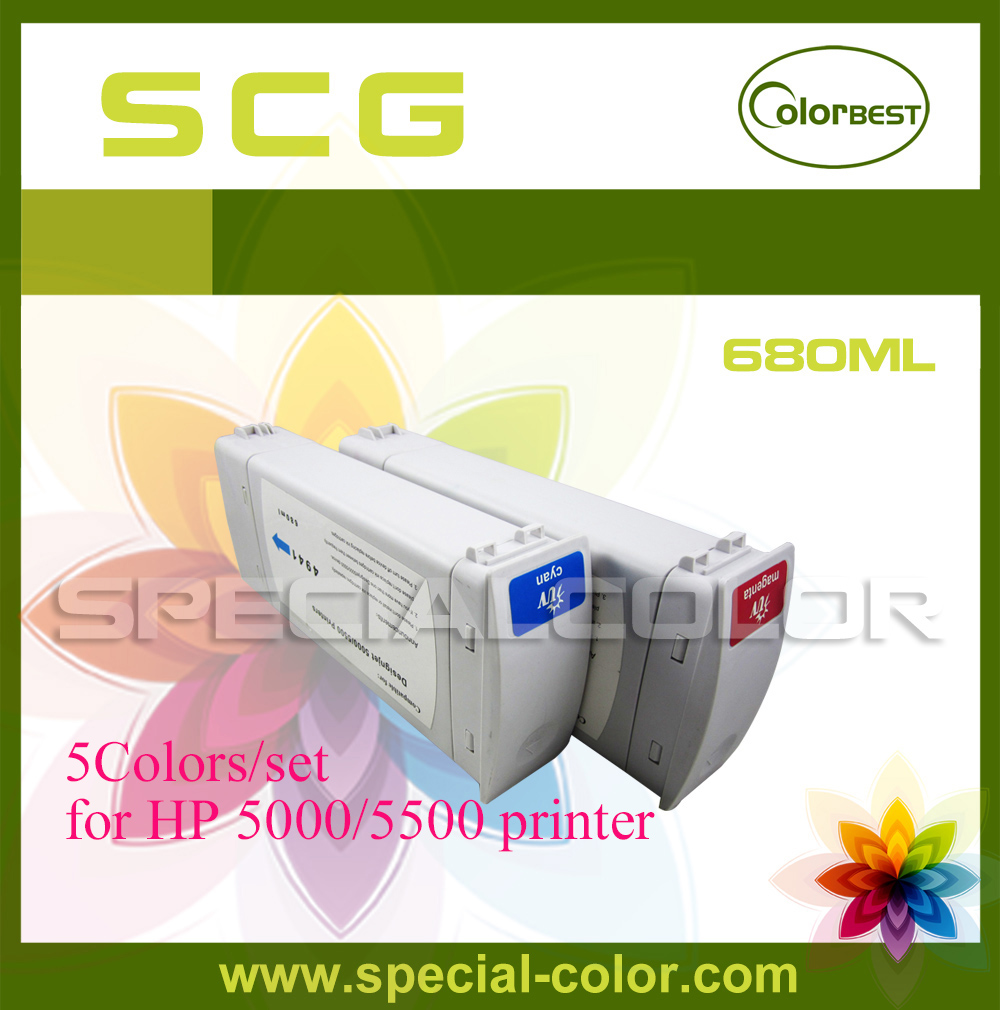 5Colors/set High Quality 680ml  Ink Cartridge with Pigment Chip for HP 5000/5500 Printer C/M/Y/LC/LM 5colors set high quality 680ml ink cartridge with pigment chip for hp 5000 5500 printer c m y lc lm