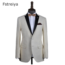 Custom made off-white men slim fit suit costume homme gold tuxedo  customized wedding suits for whith pants groom clothes