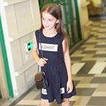 Девочка Летнее Платье 2016 детская Одежда Дети Рукавов Платье В Полоску Письма для возраст 5 6 7 8 9 10 11 12 13 14 Т Лет