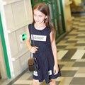 Vestido del Verano del Bebé 2016 ropa de Los Niños Kids Vestido A Rayas Sin Mangas Cartas para edad 5 6 7 8 9 10 11 12 13 14 T Años de Edad