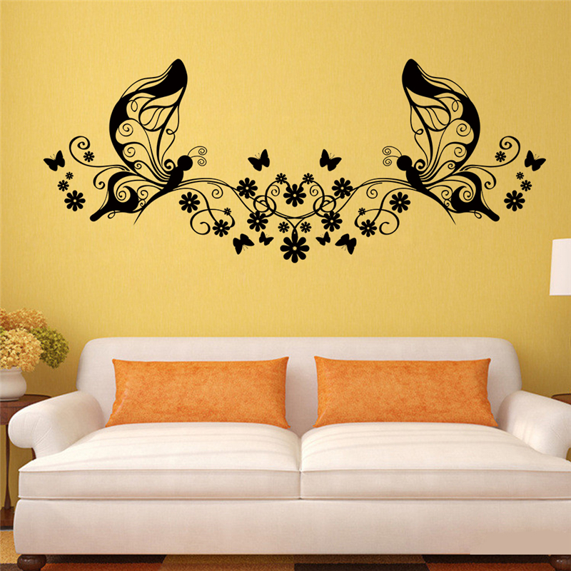 Wonderful Butterfly Flowers Vine Fairy Wall Decals Art