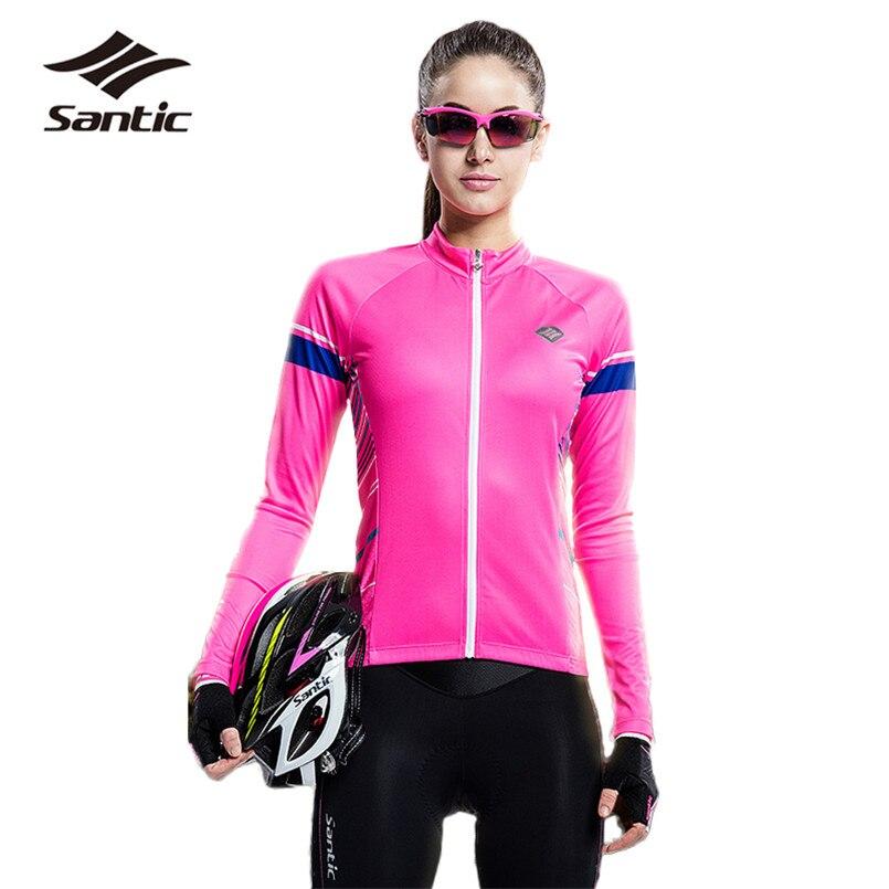 Santic 2018 été cyclisme maillot femmes printemps manches longues respirant route VTT maillot rose Anti-UV vélo hauts Jersey